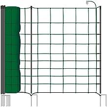 Malla eléctrica para ovejas y cabras farmNET, rollo de 50m de longitud y 108cm de altura, 20 postes con punta doble y kit de reparación, color verde