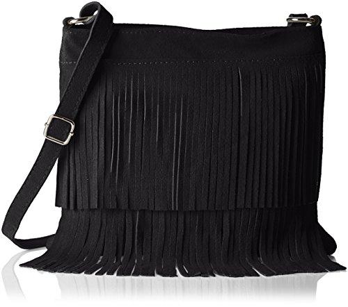 Bags4Less Damen Tipsi Umhängetasche, Schwarz (Schwarz), 10x30x30 cm (Leder Fransen Damen)
