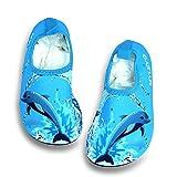 HYSENM Kinder Barfußschuhe Strandschuhe Schwimmschuhe Lycra hautfreundlich atmungsaktiv Delphin für Wassersport Hausschuhe Rot 31,5-32 EU(3XL)