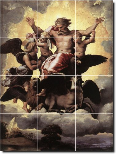 RAPHAEL RELIGIOSO PARA AZULEJOS MURAL 2  12 75X 17PULGADAS CON (12) 4 25X 4 25AZULEJOS DE CERAMICA