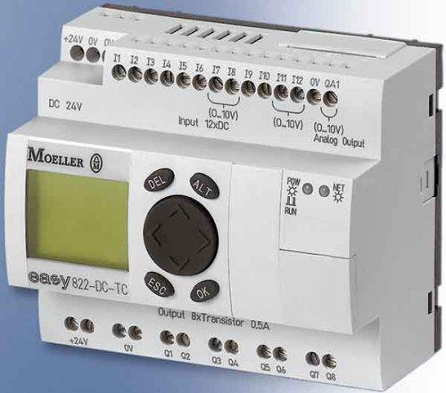 Eaton 256275 Steuerrelais, 24VDC, 12Di(4Ai), 8Do-Trans, 1AO, Display, Uhr, erweiterbar, Easynet -