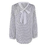 Großes Shirt ❤DEELIN Frauen Langarm Chiffon Bowknot Shirt Casual V-Ausschnitt Punkte Bluse Top (S, Weiß)