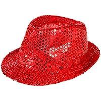 Cappello fedora borsalino di molti colori diversi con luci LED e paillette clubstyle discoteca popstar jazz blues lifestyle accessorio molto moderno hip hop spiaggia tempo libero, LED Trilby TH-40-54:TH-41 rosso