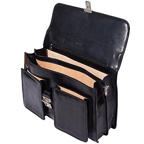 Cartable Porte-document Serviètte bandoulière en cuir avec deux compartiments Noir
