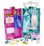 Mattel Disney Princess BDK36 - Die Eiskönigin Annas und Elsas Kleiderschrank, inklusive Accessoires