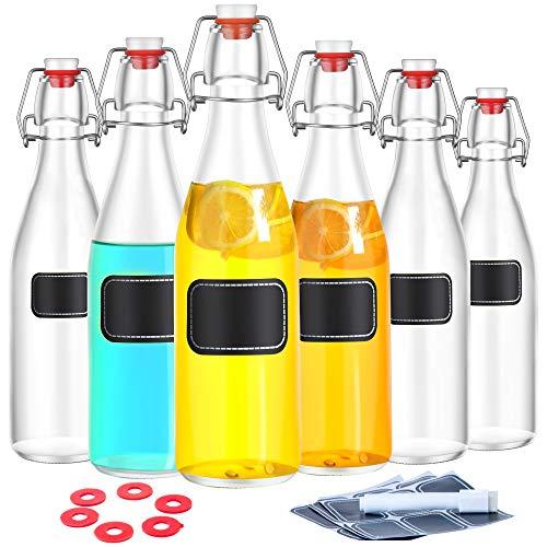 Praknu 6 Glasflaschen mit Bügelverschluss 500ml | 6 Extra Dichtungen und 12 Etiketten mit Stift - Flaschen Bier Leere