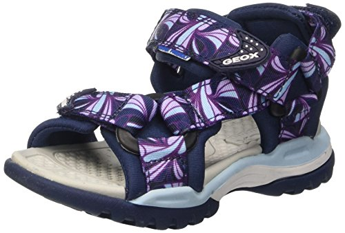 Geox Mädchen J Borealis Girl A Offene Sandalen mit Keilabsatz, Blau (NAVYC4002), 34 EU
