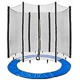 Arebos Coussin de protection pour trampoline + filet / 244, 305, 366, 396, 430, 460 et 490 cm / filet pour 6 ou 8 tiges (244 cm, filet pour 6 tiges)