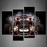 4 Verkleidung Heiß Stange Mit Rauch Hintergrund Auf Schwarz Wandkunst Malerei Das Bild Druck Auf Leinwand Auto Kunstwerk Bilder Für Zuhause Büro Moderne Dekoration