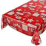 ANRO Wachstuchtischdecke Wachstuch abwaschbar Tischdecke Weihnachten Weihnachtsstimmung Rot 240 x 140cm, Schnittkante