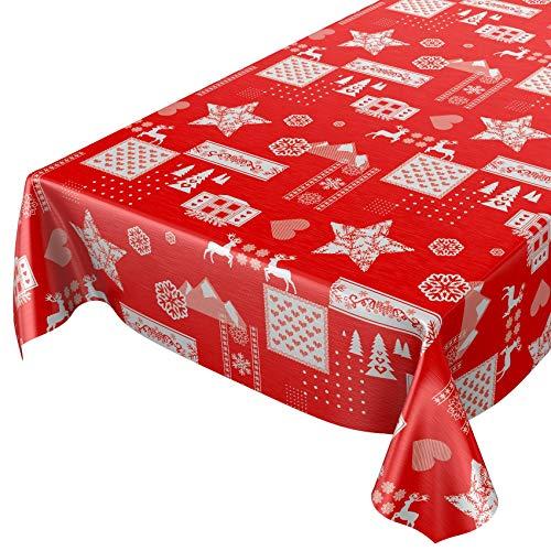 ANRO Hule Mantel Hule Lavable Mantel navideño ánimo