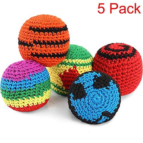 5 Stücke Lustige Hacky Ball Sacks Gewebte Kickball Weiche Strick Kick Balls für Kinder und Anfänger