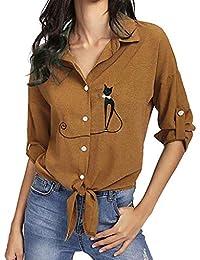 Xmiral - Camisas - Lunares - Redondo - Manga Larga - para Mujer