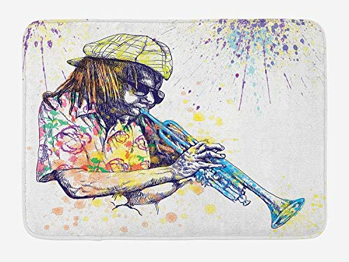(Funny DoorMat Bath Rugs Jazz Music Bath Mat, Illustration of Trumpeter with Paint Splashes at the Background Entertainment, Plush Bathroom Decor Mat with Non Slip Backing, 15.7 X 23.6Inches, Purple Yellow)