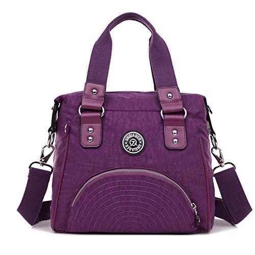 Outreo Handtasche Damen Schultertasche Wasserdichte Messenger Bag Designer Umhängetasche Mädchen Taschen Sporttasche Reisetasche für Kuriertasche Strandtasche Nylon Lila