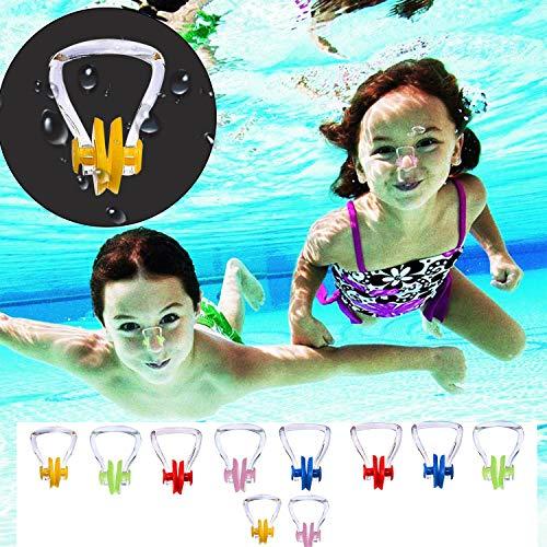 Nasenklammer - 10er Set Nasqaenclips zum Schwimmen aus Silikon - Schwimmhilfe für Erwachsene und Kinder - Schwimmen, Kayak, Tauchen, Synchronschwimmen - Perfektes Set zum Training, Wettkämpfe&Anfänger