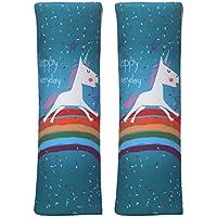 MUROAD 2 Piezas Almohadillas protectoras para cinturón de seguridad,Estilo de dibujos animados de Cinturón acolchado para adultos y niños,Unicornio