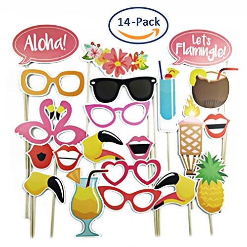 Urlaubssommer Fotokabinen-Requisiten DIY Kit für Hochzeitspartys, Geburtstage, Fotokabinen, Kostüme mit Schnurrbart auf Einem Stab, Hüte, Brille, Mund, Bowler