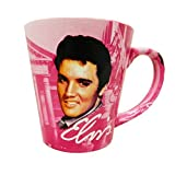Elvis Presley The King Graceland Pink w/Guitars Ceramic Latte Coffee Mug by Midsouth Products