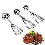 Set di 3cucchiaini da gelato, in acciaio inossidabile, palette ideali per purè di patate e anguria, ottime per porzionare palline di gelato, accessori da cucina