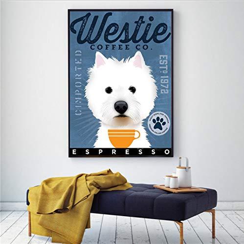yhnjikl Westie Black Dog Art Coffee Decoración de la Pared Cartel Lindo Animales Pintura de la Lona Decoración para El Hogar Sala de Estar Escandinava Decoración 40X60Cm Sin Marco