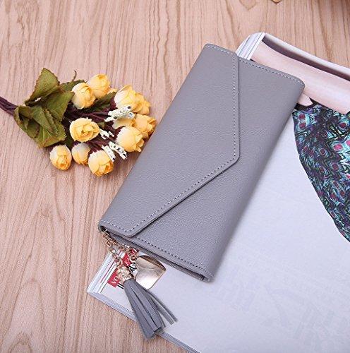 Dairyshop Portamonete da donna sacchetto di telefono della borsa del supporto della carta del raccoglitore di cuoio della signora della nappa della signora delle donne (Grigio) Grigio