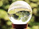 #9: Mohangifts Refraction Photography Prop Crystal Lens Ball Spherical with Wooden Stand Small 6cm