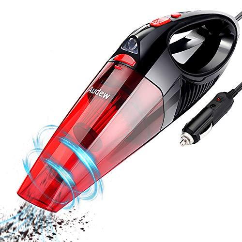 AudewAspirateurVoiture à Main,Haute Puissance120Wavec Lumière LEDsur12Vl'Allume-Cigare avecCordon5M,FonctionHumide&Sèche,Rouge