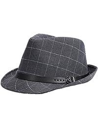Uomini Ragazzi Moda Autunno Inverno Tartan Cappello Di Jazz Fedora Trilby  Cappelli 6e8124e75561
