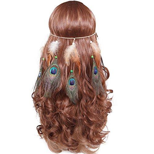 Schmuck Pfau Kostüm - LONGBLE Indianer Kopfschmuck Feder Stirnband Indianer kostüm Damen Boho Haarschmuck mit Handgewebte Quasten Pfauenfeder Holzperle Einstellbar Haarband Kopfschmuck Federschmuck