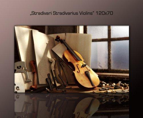 XXL-Wandbild-Violine-auf-echter-Leinwand-gerahmt-Stradivari-Stradivarius-Violins-120x70cm-Dekobild-Musik-Instrument-Bilder-fertig-gerahmt-mit-Keilrahmen-riesig-Ausfhrung-Kunstdruck-auf-Leinwand-Gnstig