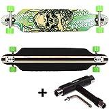 FunTomia® Longboard Skateboard Board Skaten Cruiser Komplettboard mit Mach1® High Speed Kugellager T-Tool (Modell Freerider - Farbe Grün Totenkopf + T-Tool)