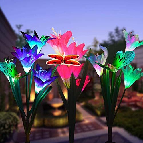 Solar Lily Flower Lichter, 3 Lily Head 1 Butterfly Head 7 Farbwechsel Outdoor Garden Stake Lampen für Gartenterrasse Yard Pathway Party Urlaub Dekoration ()