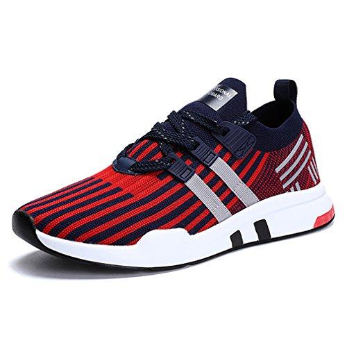 Sollomensi Laufschuhe Retwin Turnschuhe Straßenlaufschuhe Sneaker mit Snake Optik Damen Herren Sportschuhe Schuhe EU 46 F Rot (Outdoor-optik)
