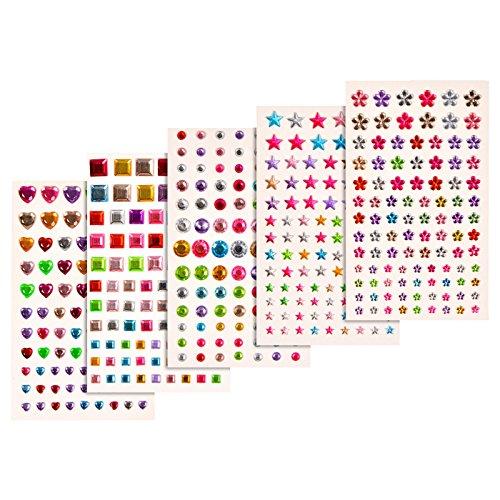 Joyshare 5 Blätter Selbstklebend Rhinestone Strasssteine Aufkleber Bling Handwerk Juwel Kristall Edelstein Aufkleber, Mehrfarbig, Sortierte Größe , 420 Stück (Kleber Edelsteine)