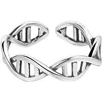 Anello in argento 925, a forma di molecola di DNA, regolabile
