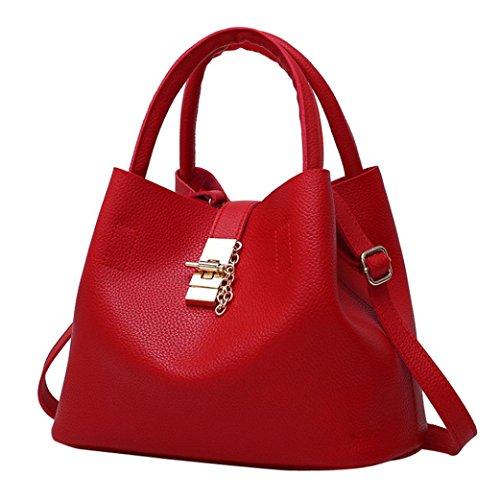 LHWY Handtasche Damen Set, 2Pcs Damenmode Pu Leder Schultertasche Brötchen Mutter Tasche mit Handtasche Haspe Solide Eimer Tasche Vintage (2Pcs Set, Rot) -