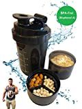 Fadost Protein Shaker 3-teilig mit abnehmbarem Supplemente-Behältern, BPA-frei, auslaufsicher, Eiweiß Shaker, 600 ml (skaliert bis 500ml)