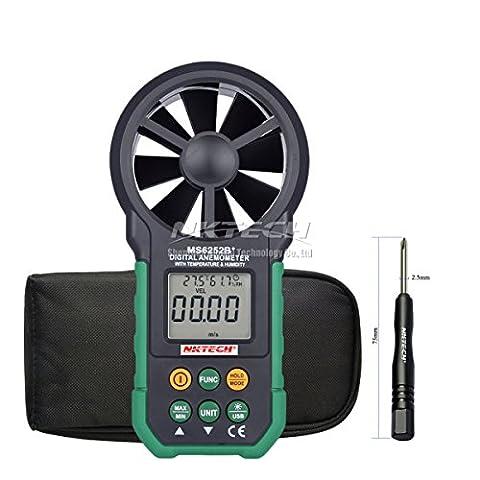 Nktech Ms6252b + Digital anémomètre Vitesse du vent Mètre Débit d'air Volume ambiante avec température humidité téléchargement USB de données rétroéclairage LCD de poche électronique Test
