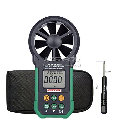 nktech MS6252B + Digital Anemometer Wind Speed Meter Air Flow Volumen Ambient mit der Temperatur Luftfeuchtigkeit Anzeige USB Daten Upload Hintergrundbeleuchtung Handheld LCD elektronische Test