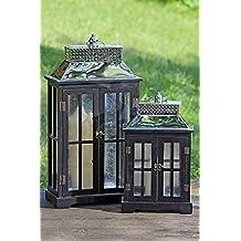Farol portavelas Armonía Negro Alas puertas cristal metal Madera con dorso de metal muy inoxidable Tamaño aprox. 63x 33x 18cm