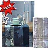 Sander Outlet! Tischläufer zu Weihnachten Star LINE, 47x150 cm, Farbe 21- Silber/grau/Platin – JETZT REDUZIERT