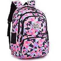 Uniuooi Geometric Backpack Primary School Bag for Girls Boys Age 7 8 9 10 11 12+ Years Blue Black Geometric Print Waterproof Students Satchel