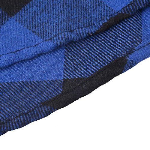 Vertvie Femme Mini Chemise Robe Plaid Carreau Slim Fit 3/4 Manches Shirt Casual avec Ceinture Bleu