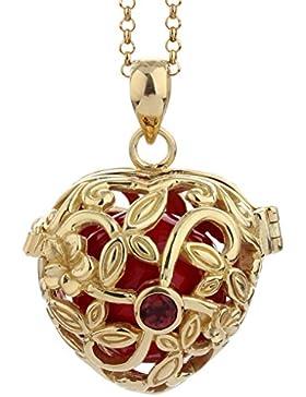Nenalina Silber Halskette mit Engelsflüsterer Herz Anhänger mit Granat und roter Klangkugel | Damen Collier mit...