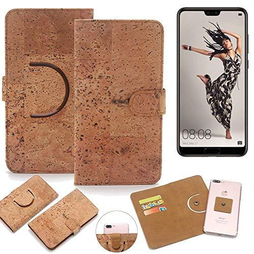 K-S-Trade Schutz Hülle für Huawei P20 Pro Single-SIM Handyhülle Kork Handy Tasche Korkhülle Schutzhülle Handytasche Wallet Case Walletcase Flip Cover Smartphone Handyhülle