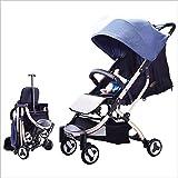 QZX Kinderwagen Leichter Reise-Buggy Faltbarer Kinderwagen mit 4 STATISCHEN (FESTEN) Rädern Geeignet von Geburt bis 22 kg 5-Punkt-Sicherheitssystem,Blue