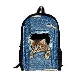 Moolecole Unisex 3D nette Katze / Hund Muster Daypack Rucksack Jungen-Mädchen-beiläufige Schule-Beutel-Rucksack-Karikatur-Muster-Schulter-Beutel Ideal für Schule und Reisen (Cat Large)