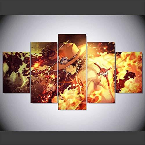 ZKPWLHS Leinwanddrucke 5 Panel One Piece Ace Fotos Für Wohnzimmer Dekoration Hd Bilder Moderne Wandkunst Anime Poster [C] Kein Rahmen
