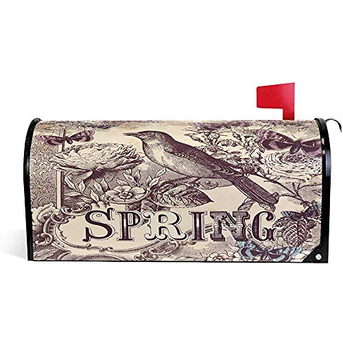 Mailbox Cover Vintage Bird Spring Pattern Mailbox Cover Standard Size-21x18 in
